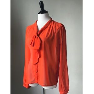 Red Tie Front Blouse